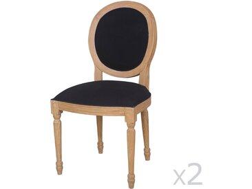 Chaise médaillon en bois noir avec piètement bois (lot de 2) PAULINE