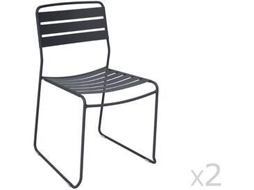 Chaise de jardin FERMOB empilable acier noir (x2) SURPRISING
