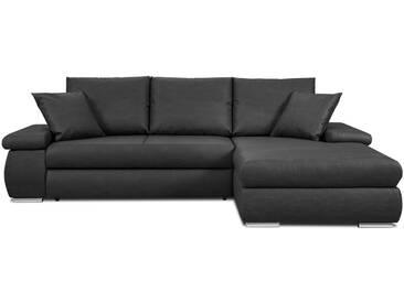 Canapé dangle droit convertible 3 places en simili cuir noir et rangement dans les accoudoirs DARYL