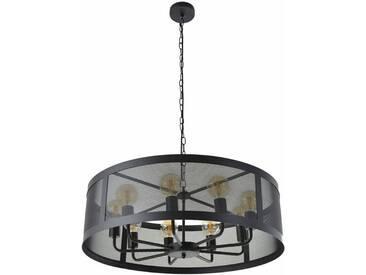 Lustre style industriel 9 lumières en métal noir STOCK