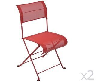 Chaise de jardin FERMOB pliante en acier et toile rouge (x2) DUNE