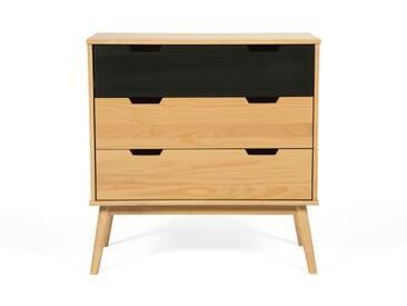 Commode en bois noir scandinave 3 tiroirs L80cm FIFTIES