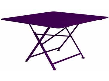 Table de jardin FERMOB carrée pliante 130x130 cm en acier aubergine CARGO