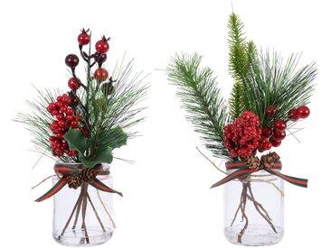 Set de 2 décorations de table baie et sapin en bocal