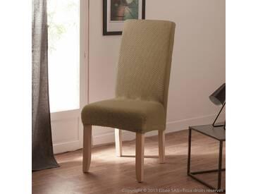 Housse de chaise extensible coton/polyester beige (Lot de 2) LISA