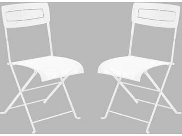 Chaise de jardin FERMOB pliante en acier et toile blanc (x2) SLIM