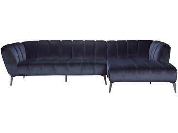 Canapé dangle droit en velours bleu nuit et pieds métal ROBINE