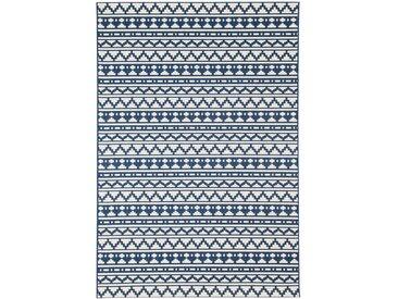 Tapis bleu ethnique à motif mosaïque 160x230cm IMANI