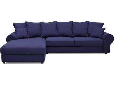 Canapé dangle gauche fixe 4 places en tissu bleu et ses coussins HALGEN