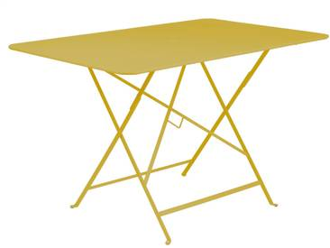 Table de jardin FERMOB rectangulaire pliante 117x77 cm acier laqué jaune BISTRO