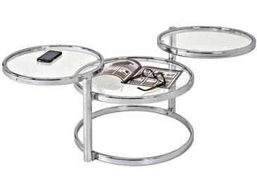 Table basse 3 plateaux ronds acier chromé/verre trempé BUBBLE