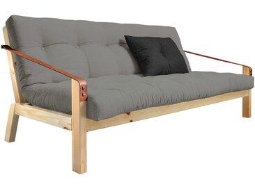 Canapé convertible 2 places en cuir gris avec matelas futon et pieds en bois naturel POETRY