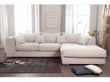 Canapé dangle droit 4 places avec grande méridienne en coton et lin EDWARD