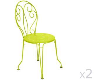 Chaise de jardin empilable FERMOB en acier - assise perforée (x2) verveine MONTMARTRE
