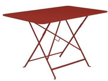 Table de jardin FERMOB rectangulaire pliante117x77 cm acier laqué piment despelette BISTRO