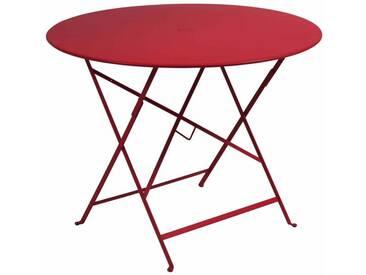 Table de jardin FERMOB ronde pliante D.96 cm acier laqué piment despelette BISTRO
