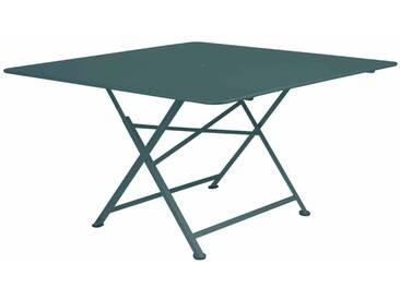 Table de jardin FERMOB carrée pliante en acier 8 personnes 130x130cm gris orage CARGO