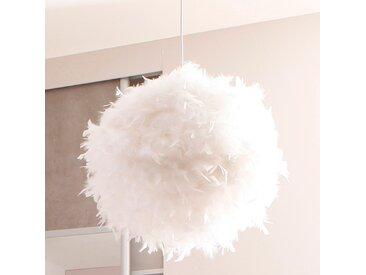 Suspension boule en plumes véritables cousues main blanc KOKOT