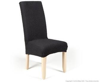 Housse de chaise extensible unie gris foncé effet gaufré MARINE