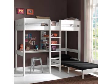 Lit mezzanine en bois (pin) blanc avec bureau et couchage dappoint (90x200) PINO