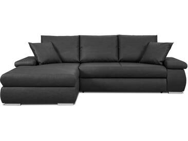 Canapé dangle gauche 3 places convertible en simili cuir noir et rangement dans les accoudoirs DARYL