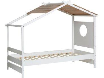 Lit enfant cabane sans tiroir-lit bois et blanc NAYAH