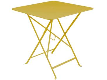 Table de jardin FERMOB carrée pliante71x71 cm acier laqué Jaune BISTRO