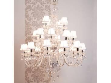 Lustre baroque 24 branches en acrylique et tissu blanc ROMEO