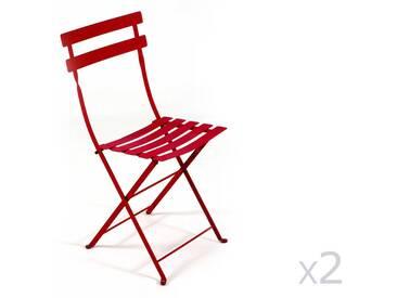 Chaise pliante FERMOB acier laqué piment despelette (x2) BISTRO