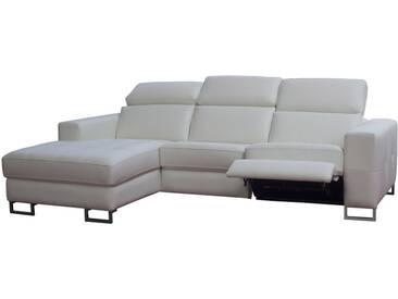Canapé dangle gauche 4 places en cuir blanc avec relax électrique latéral PANDORE