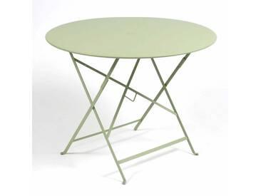Table de jardin FERMOB ronde pliante D.96 cm acier laqué tilleul BISTRO