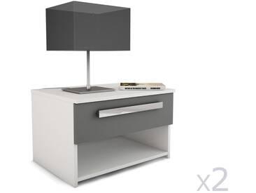 Table de chevet en bois gris avec tiroir et niche (lot de 2) STEFF