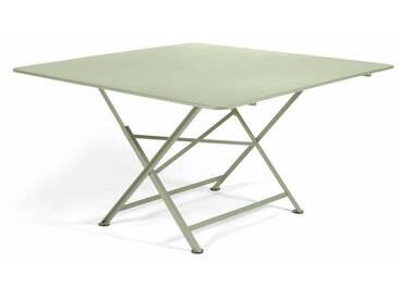 Table de jardin FERMOB carrée pliante en acier 8 personnes 130x130cm tilleul CARGO