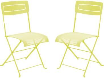 Chaise de jardin FERMOB pliante en acier et toile vert (x2) SLIM