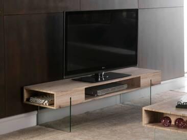 Meuble TV en bois décor San remo et pieds en verre + niches CHALTEN