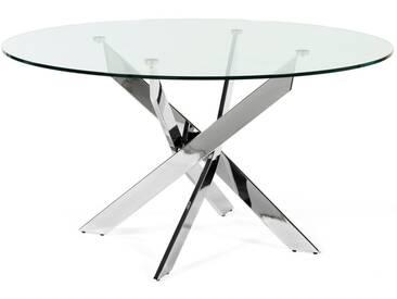Table salle à manger design ronde en métal chromé et verre trempé YORK
