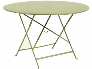 Table de jardin FERMOB ronde pliante D.117cm acier laqué tilleul BISTRO