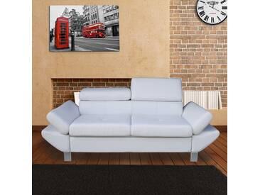 Canapé 2 places en simili cuir blanc avec têtières et accoudoirs VALPARAISO