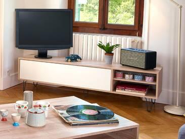 Meuble TV bas en bois blanc avec 1 abattant, 2 niches et pieds AERO