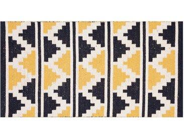 Tapis en coton bleu et jaune ethnique à motif mosaïque 60x110cm VERA