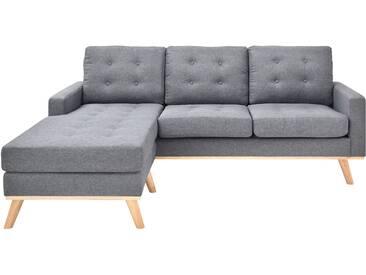 Canapé dangle réversible gris scandinave en tissu avec dossier capitonné SHANNON