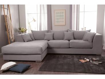 Canapé dangle gauche 4 places en coton lin gris clair avec grande méridienne EDWARD
