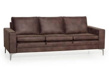 Canapé en tissu microfibre vieilli avec pieds en métal CAYO chocolat 3 places