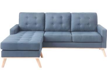 Canapé dangle réversible bleu scandinave en tissu avec dossier capitonné SHANNON