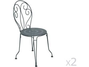 Chaise de jardin empilable FERMOB en acier - assise perforée (x2) gris orage MONTMARTRE