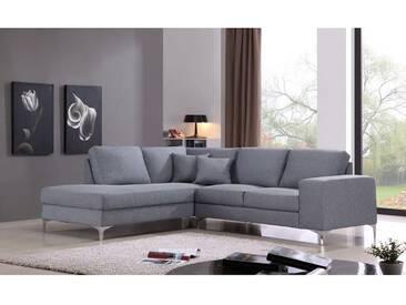 Canapé dangle gauche 4 places en tissu gris avec piètement métal IMMA