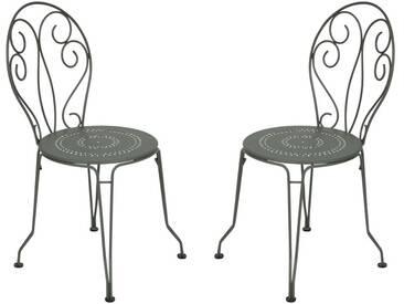 Chaise de jardin FERMOB empilable en acier - assise perforée (x2) gris MONTMARTRE