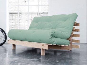 Banquette 2 places convertible en bois avec matelas futon 140x200cm vert menthe ROOTS