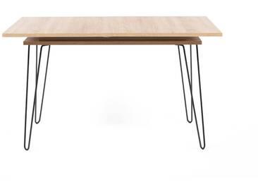 Table salle à manger en bois (chêne) et métal avec rallonges L134/174cm AERO