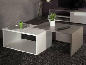Table basse gigogne en bois blanc/taupe RUBIS